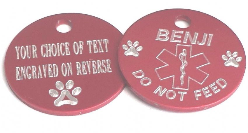 PET MEDICAL ALERT TAG RED 25MM - DO NOT FEED - PERSONALISED ON REVERSE